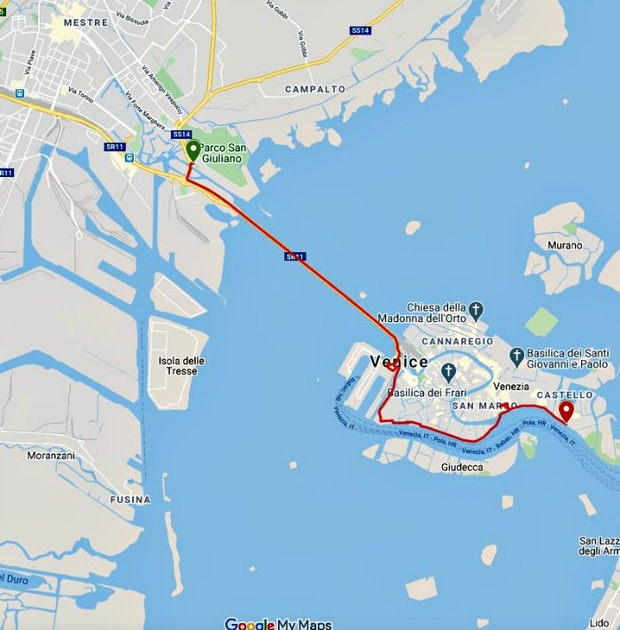 Route 10KM Venetie Marathon
