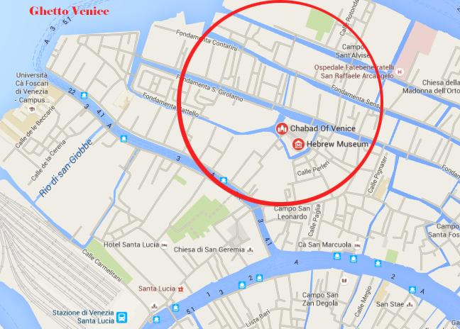 Bezienswaardigheden Venetie - Getto map