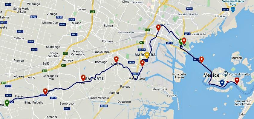 Route Venetie Marathon 42 KM