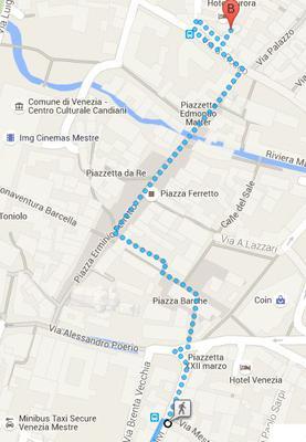 Van bushalte Olivi naar Hotel Aurora in Mestre