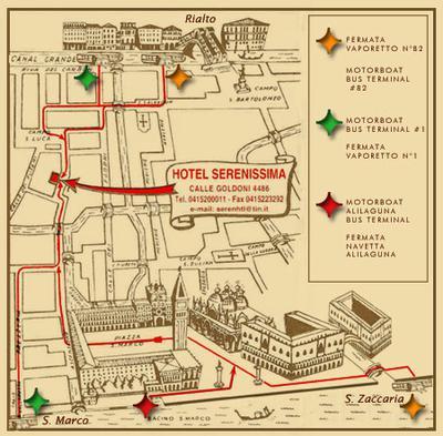 Route naar Hotel Serenissima